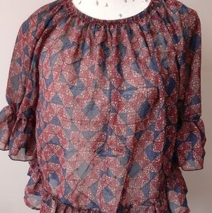 Printed Sheer Ruffled Blouse